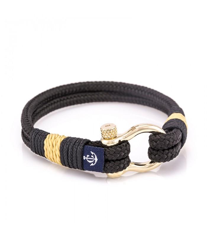 Constantin Maritimes Armband aus Segeltau, 14K Gelbgold, Schwarz