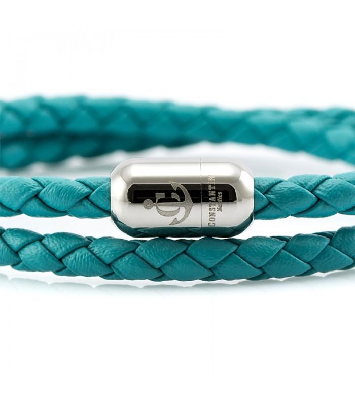 Constantin Maritimes Armband aus Leder, Türkis