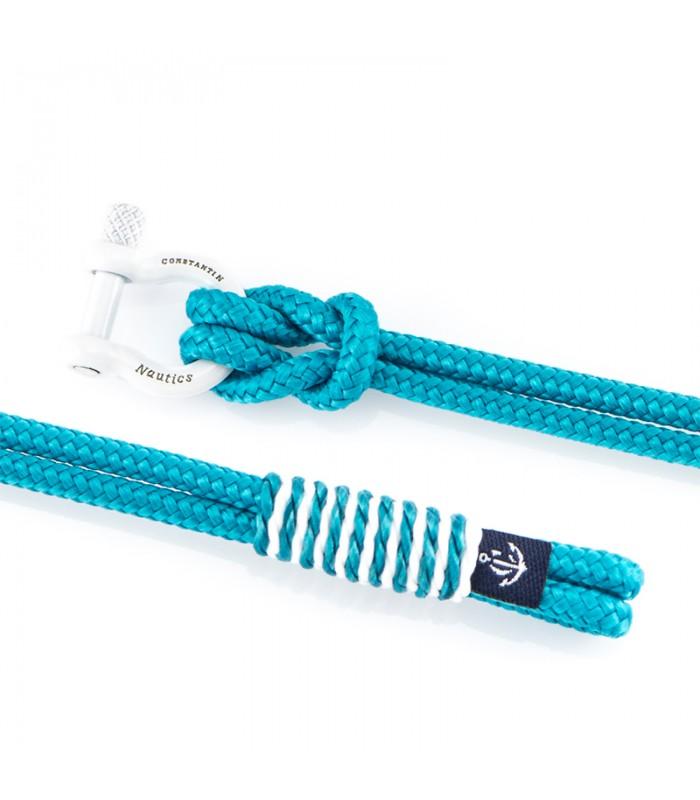 Maritimes Armband aus Segeltau, Hell Blau