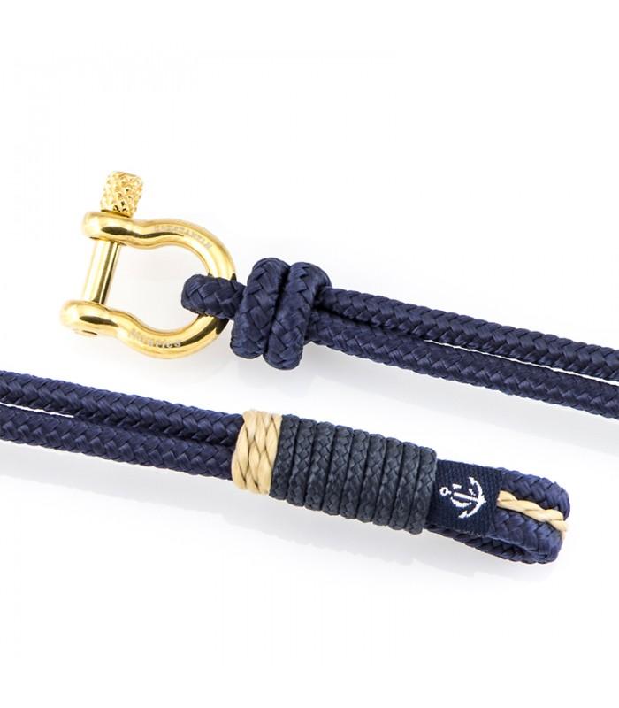 Maritimes Armband aus Segeltau, Blaue Marine