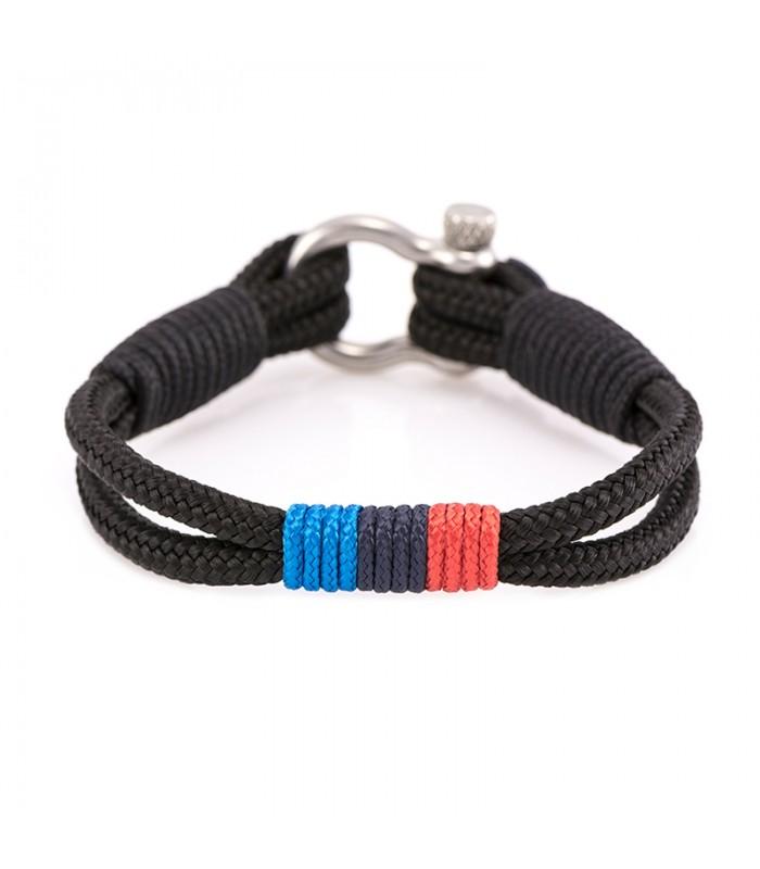 Martimes Armband aus Segeltau, Schwarz/Blau/Rot