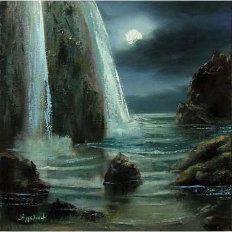 Nightscape by Angeliki, 40x40cm, oil on canvas. EUR 370