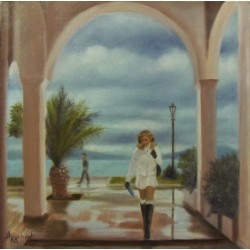 A moody day by Angeliki, 40x40cm, oil on canvas. EUR 370
