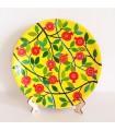 Handgefertigter Teller gelb/rot Blumen