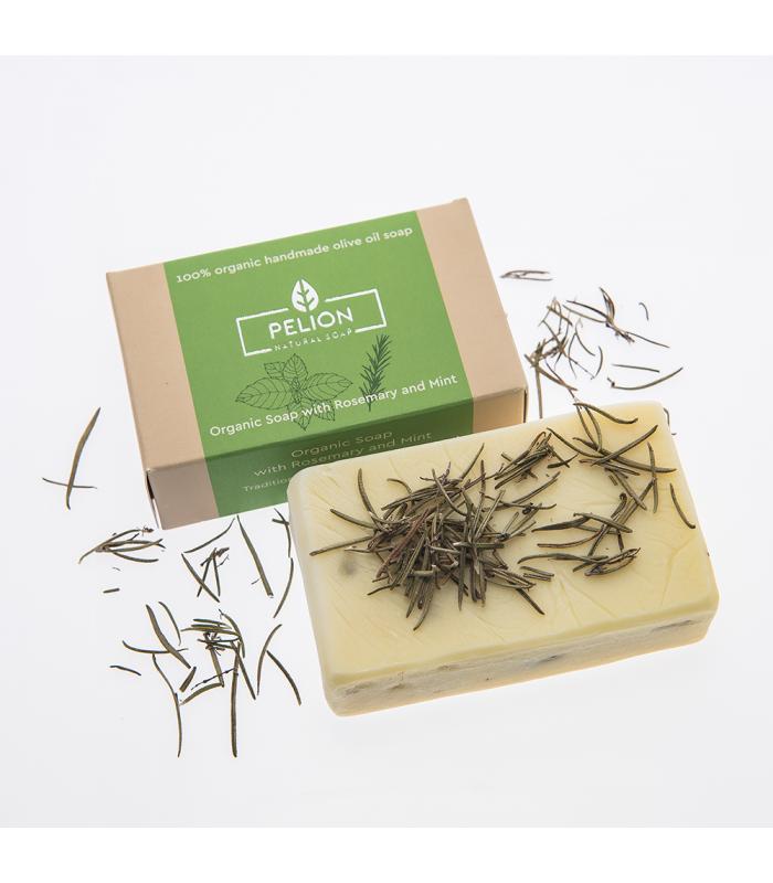Bio-Seife mit Rosmarin und Minze - 130 g - Pelion