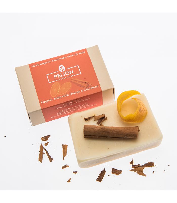 Bio-Seife mit Orange und Zimt - 130 g - Pelion