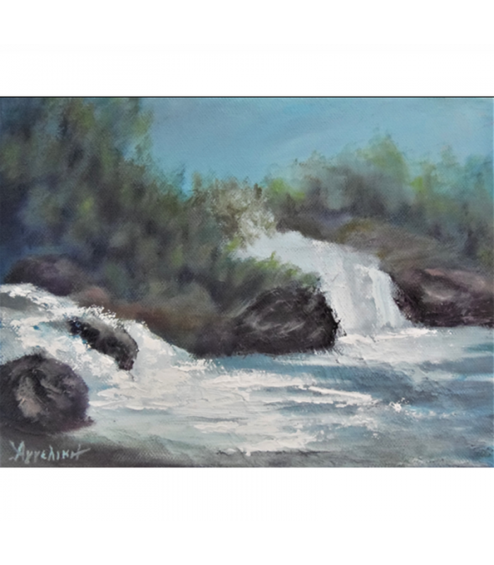 Waterfalls by Angeliki, 18x24cm, oil on streched canvas. EUR 100