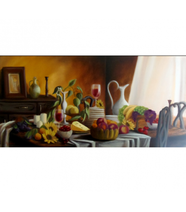 After meal by Angeliki, 80x40cm, oil on canvas. EUR 1050